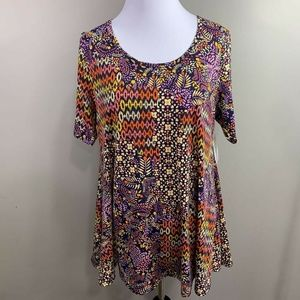 LuLaRoe Womens Perfect T-Shirt Multicolor Floral M